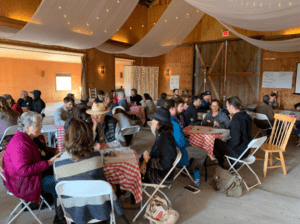The World Cafe is a good method for surveying what skills community members have and what others might be needed during a disaster. - Picnace Ranch, 2019.