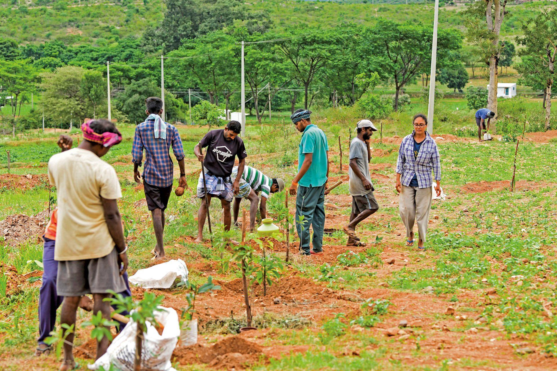 ©Swayyam.jpg – Volunteers planting trees at the Vasudha site